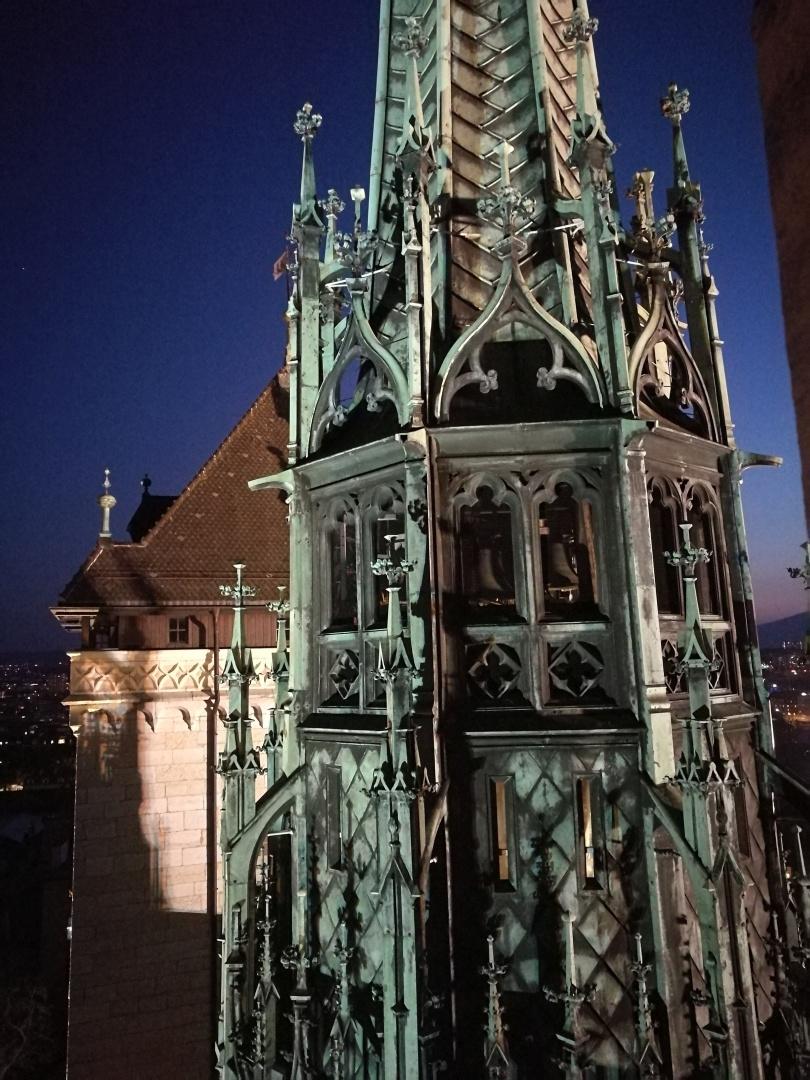 La Flèche de la Cathédrale vue de nuit (photo N. Dériaz - avril 2020)